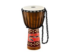 [New for 2014] A nicely hand painted djembe shell which is finished with a touch of artistry by way of a vibrant dot painted design. Check it out.