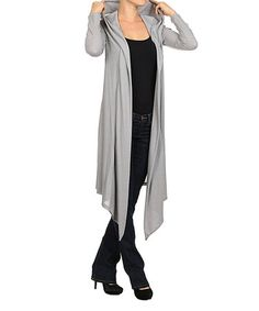 Look what I found on #zulily! Heather Gray Hooded Open Cardigan by Pretty Young Thing #zulilyfinds