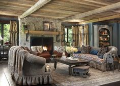 English cottage style... only changes would be the couch seat cushions and the curtains...