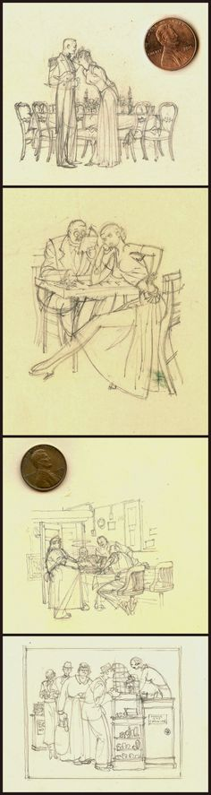 Harry Beckhoff's tiny preliminary sketches for full-sized illustrations