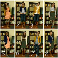 8 pieces of clothing = 8 outfits! I need to learn to wear the clothes I have. A challenge I need to try!
