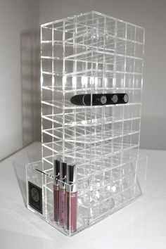 must have!!! Clear acrylic spinning LUX Lip Stand with 120 sections for lipsticks