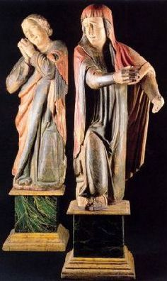 Bottega degli Orcagna - I dolenti (Giovanni e Maria di Clèofa) -  XIV sec. - scultura lignea - Museo diocesano di Santo Stefano al Ponte a Firenze.