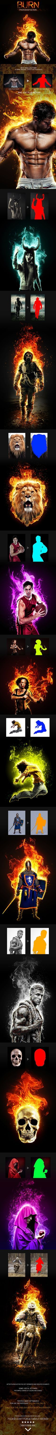Burn Photoshop Action #action #fire Download: http://graphicriver.net/item/burn-photoshop-action/11462943?ref=nexion