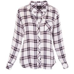 Rails Hunter Button Down ❤ liked on Polyvore featuring tops, long sleeve button down shirts, long sleeve plaid shirt, long-sleeve shirt, purple button down shirt and plaid boyfriend shirt