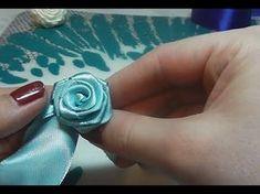 Как сделать розочку из атласной ленты. How to make a rose from satin rib...