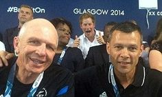 Glasgow 2014: Prince Harry photo bombs two of the New Zealand rugby players... This is what the royal family of today gets up to!