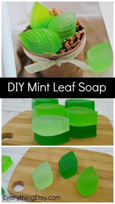 DIY Mint Leaf Soap {Handmade Gift Idea This DIY Mint soap is super refreshing and makes a fabulous handmade gift for anytime of the year! You won't believe how amazing your whole house will smell Handmade Gifts For Her, Handmade Christmas Gifts, Handmade Soaps, Diy Gifts, Christmas Ideas, Christmas Decorations, Diy Soap Stamp, Clear Glycerin Soap, Small Flower Pots