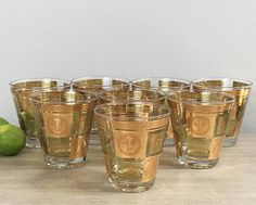 Georges Briard Cocktail Glasses Gold Whiskey Glass Set of
