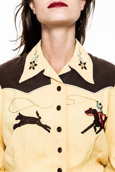 Camisa western amarela pala marrom