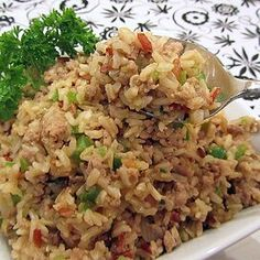 Ke's Cajun (Dirty) Rice Cajun Dishes, Food Dishes, Side Dishes, Cajun Dirty Rice Recipe, Brown Rice Dishes, Turkey Chops, Rice Recipes For Dinner, Fast Metabolism, Stuffed Green Peppers