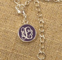 Custom Engraved Monogram Bracelet Charm in Purple and White by Capital Letters www.MyCapitalLetters.com
