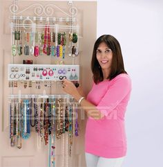 Amazon.com - Overdoor/Wall Jewelry Organizer in White By Longstem - Unique patented product - Rated Best - Closet Hanging Jewelry Organizers