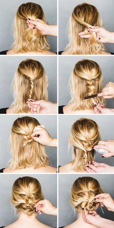 Super easy hairstyle and totally cute! Especially if you don't want to spend too much time on an updo! http://www.annesage.com/blog/2014/12/holiday-hair-tutorial-an-easy-short-hair-updo.html