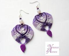 Boucles d'oreilles micro-macramé violettes en por laNoueusedAtours