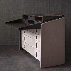 "Angle on the drop down fits into top, two tone, and leather pulls The secrétaire – a writing desk with a drop-down flap - adds a regal touch to the home. The elegance is enhanced by the luxury materials used in the construction, the quality of the finishes and the rational design of the accessories [""Gentleman"" secrétaire - writing desk - design Carlo Colombo - #Flou]"