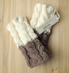 Knitted Boot Cuffs - Ivory on Brown Knit Boot Cuffs -