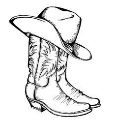 Free Cowboy hat outline | Cowboy boots and hat graphic isolated vector 1129379 - by GeraKTV