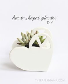 DIY Heart Planter - cute for valentines day or everyday decor - even a cute wedding gift!