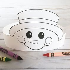 Create your own Snowman Crown! Print, color, cut & glue your crown together & adjust to fit anyones head! Christmas Crafts For Gifts, Winter Crafts For Kids, Christmas Hat, Christmas Paper, Art For Kids, Christmas Ideas, Preschool Crafts, Kids Crafts, Schnee Party