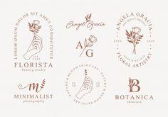 Hand drawn feminine logo templates set. ...   Premium Vector #Freepik #vector #logo #flower #frame #floral Hand Drawn Logo, Hand Logo, Web Design, Graphic Design, Logo Design Services, Branding Design, Logo Mano, Logo Fleur, Flower Logo