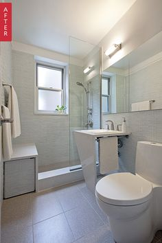 Interesting storage idea under the shower bench ... Before & After: An Aging Bathroom Enters the Modern Era — Sweeten