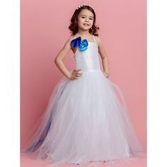 How stinking cute is this!!  My flower girl would love this!!   Ball Gown Spaghetti Straps Sweep/Brush Train Tulle Flower Girl Dress