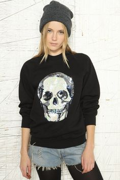 Vintage Customised Skull Sequin Sweater    http://www.urbanoutfitters.co.uk/vintage-customised-skull-sequin-sweater/invt/5413417120666/=