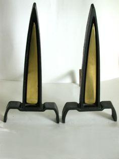 Donald Deskey Modern Art Deco Andirons Mid Century 1950's Streamline Fireplace | eBay