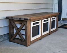 The Domestic Doozie: Custom Entryway Bench with Chalkboard Crates. I think a double level of this would be PERFECT for my office!