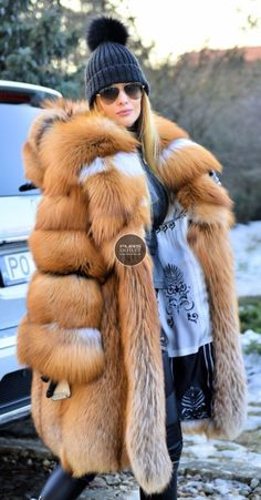 NEW 2017 GOLD FOX FUR COAT HOOD CLAS OF CHINCHILLA SABLE MINK SILVER JACKET VEST