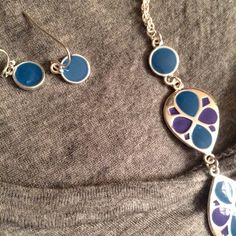 """Blue and violet necklace and earring set 36"""" silver toned chain with blue and purple teardrops and blue earrings. Very elegant. Free with any bundle of 2 or more-just ask! Jewelry"""