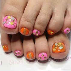 Pink, Orange and Gold Toe Nail Design