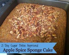 21 Day Sugar Detox Apple Spice Sponge Cake - Pain-Free Kitchen Just take out the nuts! Sugar Detox Recipes, 21 Day Sugar Detox, Sugar Detox Diet, Cleanse Recipes, Paleo Dessert, Healthy Desserts, Gluten Free Desserts, Dessert Recipes, Healthy Recepies