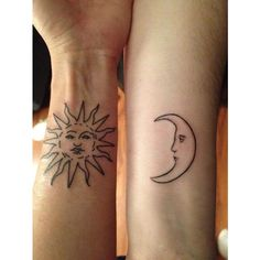 sun and moon tattoo ❤ liked on Polyvore featuring accessories and body art