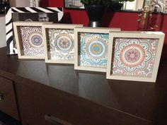 Quadrinhos wood tile cheios de charme, com azulejos de mandalas!