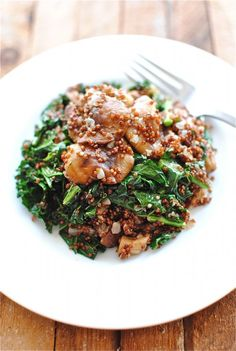 Red Quinoa w Mushrooms and Kale via @Beverly Weidner