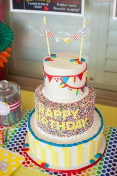 Love this cake! Carnival birthday party via Kara's Party Ideas KarasPartyIdeas.com The place for all things party! #carnival #circus #carnivalparty #circusparty #carnivalfood (29)