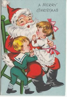 Vintage Santa Claus with Children on Lap Christmas Greeting Card - Unused