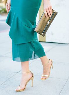 Gold strappy heels  Holiday Party Green for Christmas in Australia Sydne Style – Sydne Style