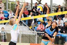 Russia's Anastasia Barsuk (left) and Italy's Marta Menegatti duel at the net