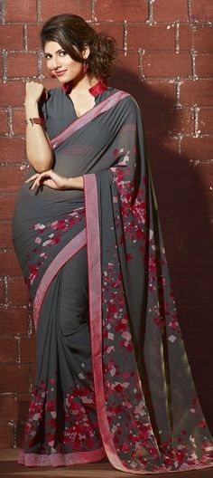 166277: Black and Grey color family Printed Sarees with matching unstitched blouse.