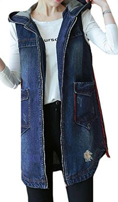 e633d21f609 ARRIVE GUIDE Womens Long Denim Sleeveless Loose Pocket Zip-Up Jean Vest  Blue X-