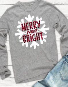 f0ec2acf Merry and Bright Tshirt, Christmas Tshirt, Buffalo Plaid Tshirt, Snowflake  Tshirt, Plus Size Holiday Tshirt, Snowflake Shirt