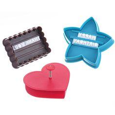 VonShef Set de 3 Emporte-Pièces (étoile, cœur et rectangle) avec Lettres pour Personnalisation