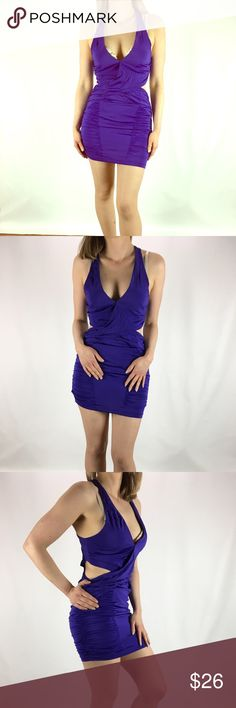 """BEBE Plunging V Ruched Bodycon Mini Dress S BEBE Plunging V Ruched Bodycon Mini Dress - Cut Out Sides SMALL Silky Satin Feel with Stretch - Rayon/Spandex NEW WITHOUT TAGS Armpit to armpit 16"""" Length 34"""" bebe Dresses Mini"""
