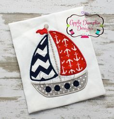 Sailboat Applique Machine Embroidery Design by AppleDumplinDesign