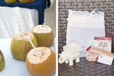 Coconuts and Wedding Favors | Indian Fusion Beach Wedding in Cancun | Bridal Party Attire: @Poshaac | Adrienne Fletcher Photography @adrinfletcher | Venue: Moon Palace Golf & Spa Resort in Cancun, Mexico @prweddings | Favors: @kateaspen