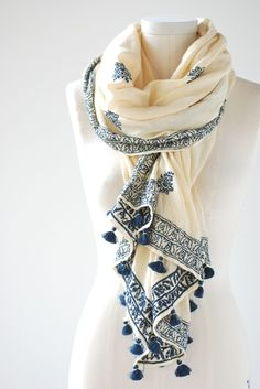Matta :: Iraja Embroidered Stole -  Lake Boutique