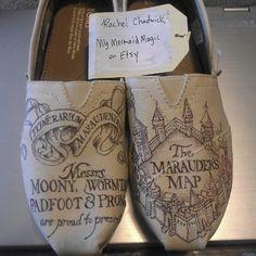 Harry Potter The Marauder's Map custom on optional Toms